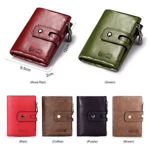 Image 5 - Short Wallets Genuine Leather Women Men Wallet New Fashion Coin Purse Zipper&Hasp Design Brand With Card Holder Pocket Green Red