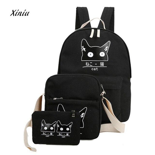 058f9b471a 3 Sets Women Girl Cat Animals Printing Travel Backpack School Bag Shoulder  Bag Girls Cute Black Cat Backpack 6 Colors