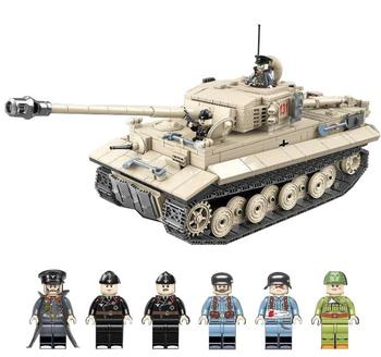 WW2 Military Germany Tiger Tank Building Blocks Educational Fighter Army Soldier Weapons Figures DIY Bricks Toys 995pcs german king tiger tank model building blocks sets military ww2 army soldiers kit diy bricks educational toys for children