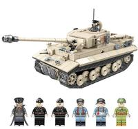WW2 Military Germany Tiger Tank Building Blocks Educational Fighter Army Soldier Weapons Figures DIY Bricks Toys