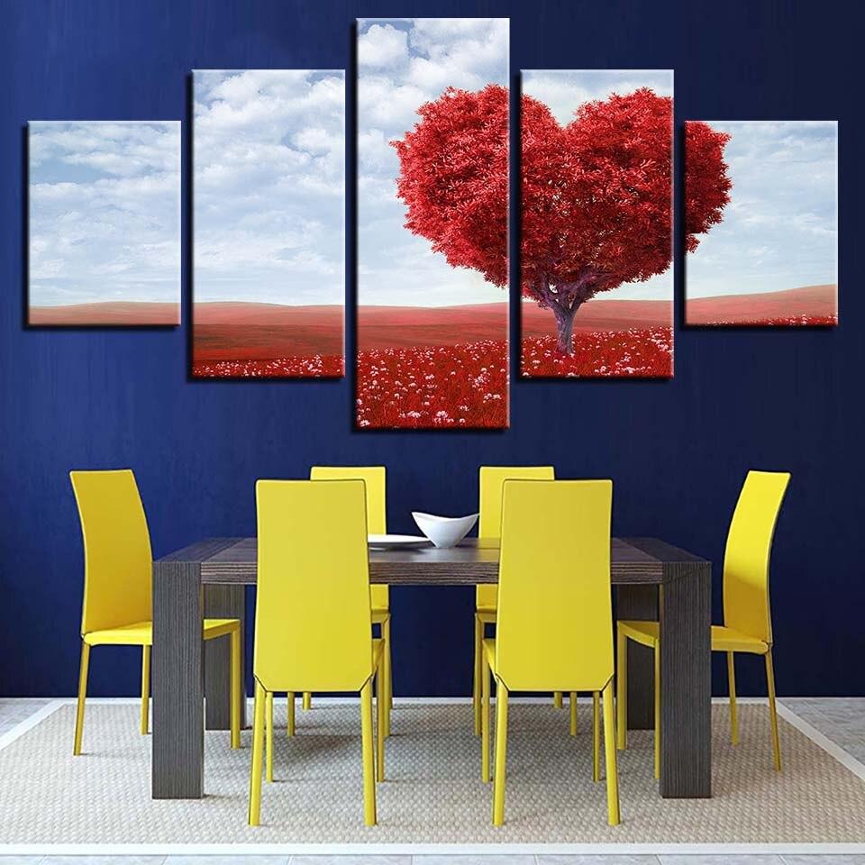 € 5.37 40% de réduction|Toile peinture salon mur Art 5 pièce rouge  romantique Tableau amour coeur arbre photos décor maison HD imprime affiche  ...