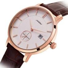 SINOBI Fashion Concise Lover's Quartz Watch Calendar Date Men Women Wrist Watches Leather Watchbands Golden Case Chronograph