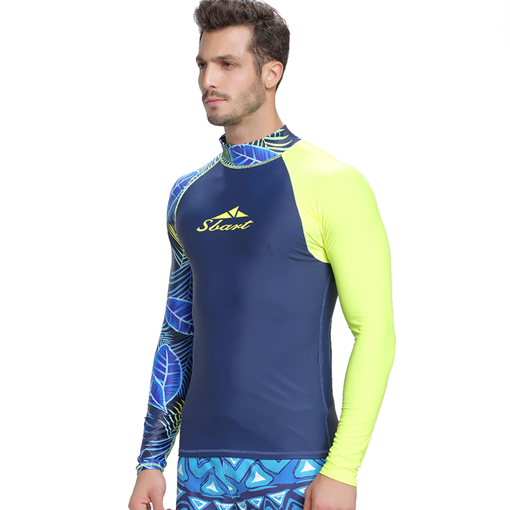 Image 4 - SBART men's rash guard shirt Mens Long Sleeved T Shirt Swimwear Wakeboard Floatsuit Tops UV Swimming RashGuard-in Rash Guard from Sports & Entertainment