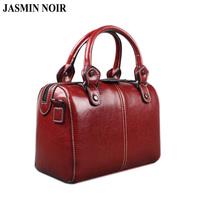 Real Cow Leather Ladies Women Genuine Leather Handbag Shoulder   Bag   High Quality Designer Luxury Brand Boston Crossbody   Bag   Totes