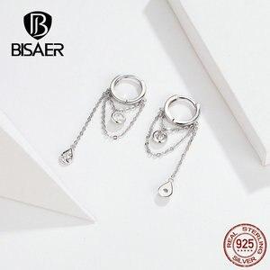 Image 5 - BISAER Rock Style 925 Sterling Silver Geometric Hyperbole Stud Earrings for Women Cubic Zircon Sterling Silver Jewelry ECE638