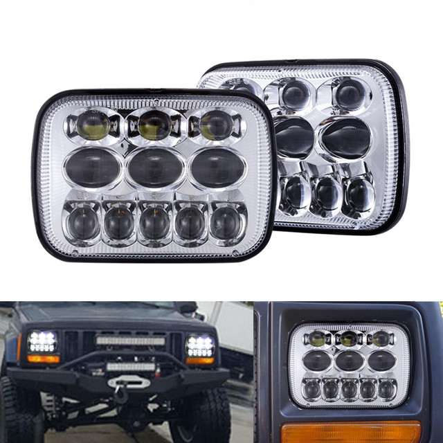 1pair 5X7 7X6 inch Rectangular Sealed Beam LED Headlight With Hi/Lo Beam LED for Toyota Tacoma Pickup MR2 Supra Nissan 240SX