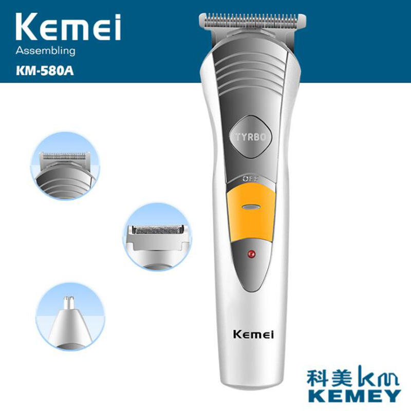 Kemei Electric Hair Trimmer For Men 3 Blades Haircut Machine Rechargeable Beard Shaver Nose Trimmers Hair Clipper rechargeable hair clipper with accessories set 220 240v ac