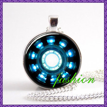Iron Man Arc Reactor Necklace Pendant Jewelry Glass movie jewelry kids jewellery kids gift unique lucky amulet charms pendants