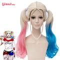 L-email Brand Movie Suicide Squad Cosplay Wigs Harley Quinn Wigs 50cm Curly Beige Pink Blue Gradient Synthetic Hair Wigs Peruca