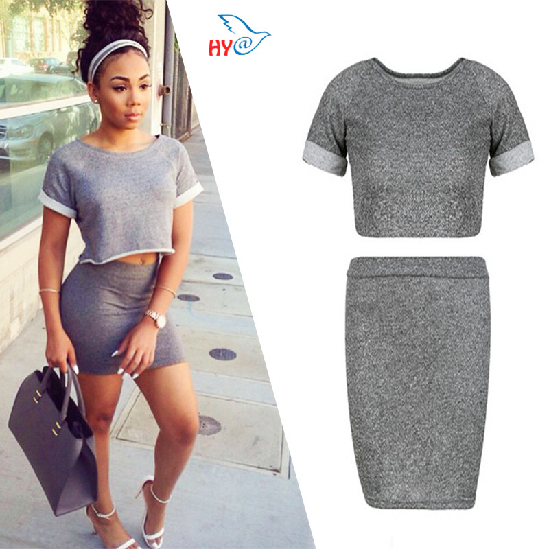 2016 Hot Sale Summer Women O-Neck Crop Top Short Sleeve Skirt Two Piece Set Sexy Silm Style vestidos de fiesta 2 piece set