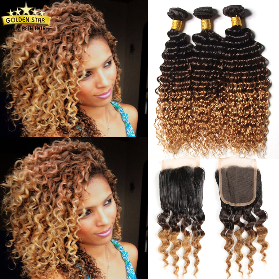 8a Peruvian Ombre Curly 3 Bundles With Closure Brown Deep