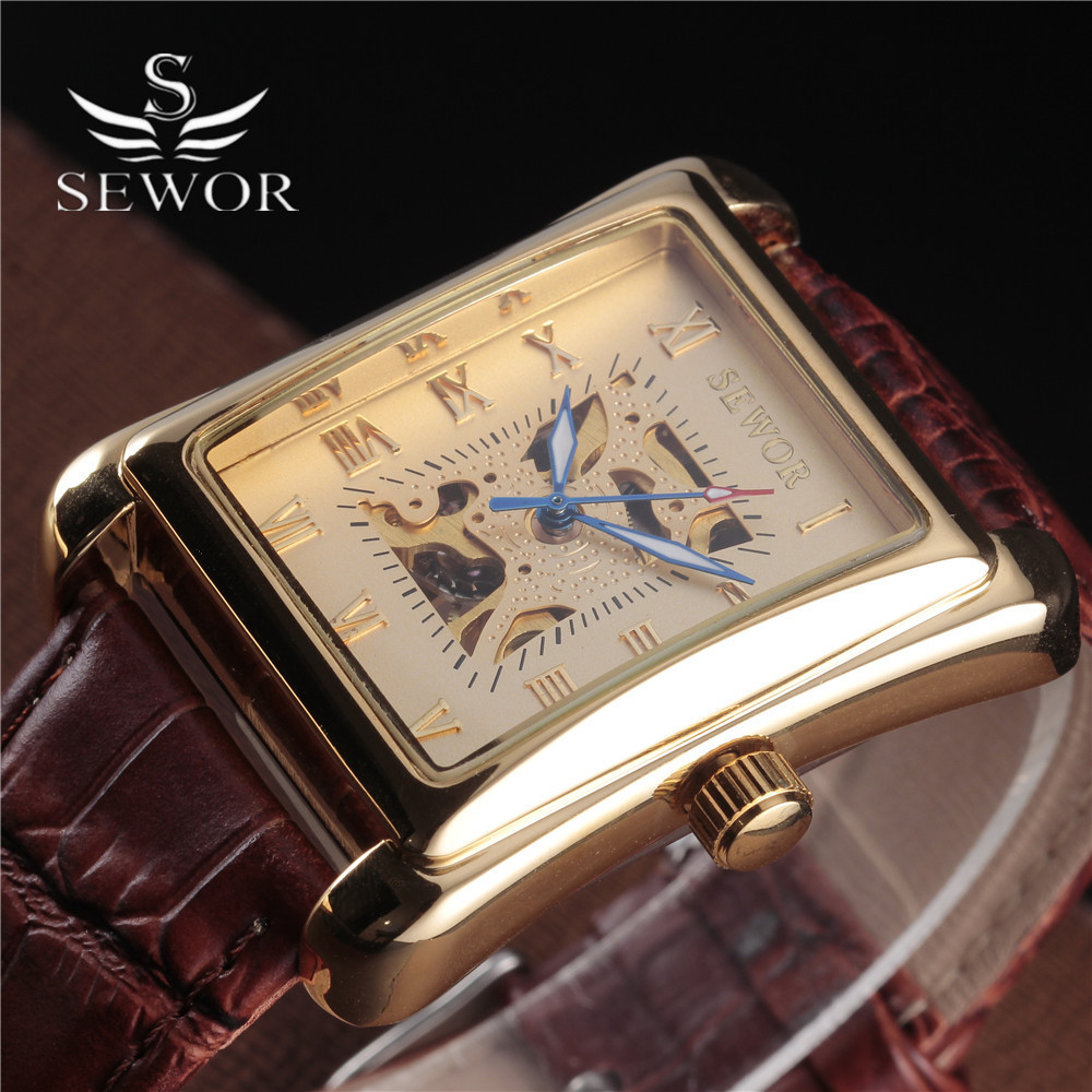 SEWOR Luxury Brand Men'S Antique Watch Gold Skeleton Wrist Watches Mechanical Hand Wind Vintage Leather Clock Relogio Masculino ks black skeleton gun tone roman hollow mechanical pocket watch men vintage hand wind clock fobs watches long chain gift ksp069