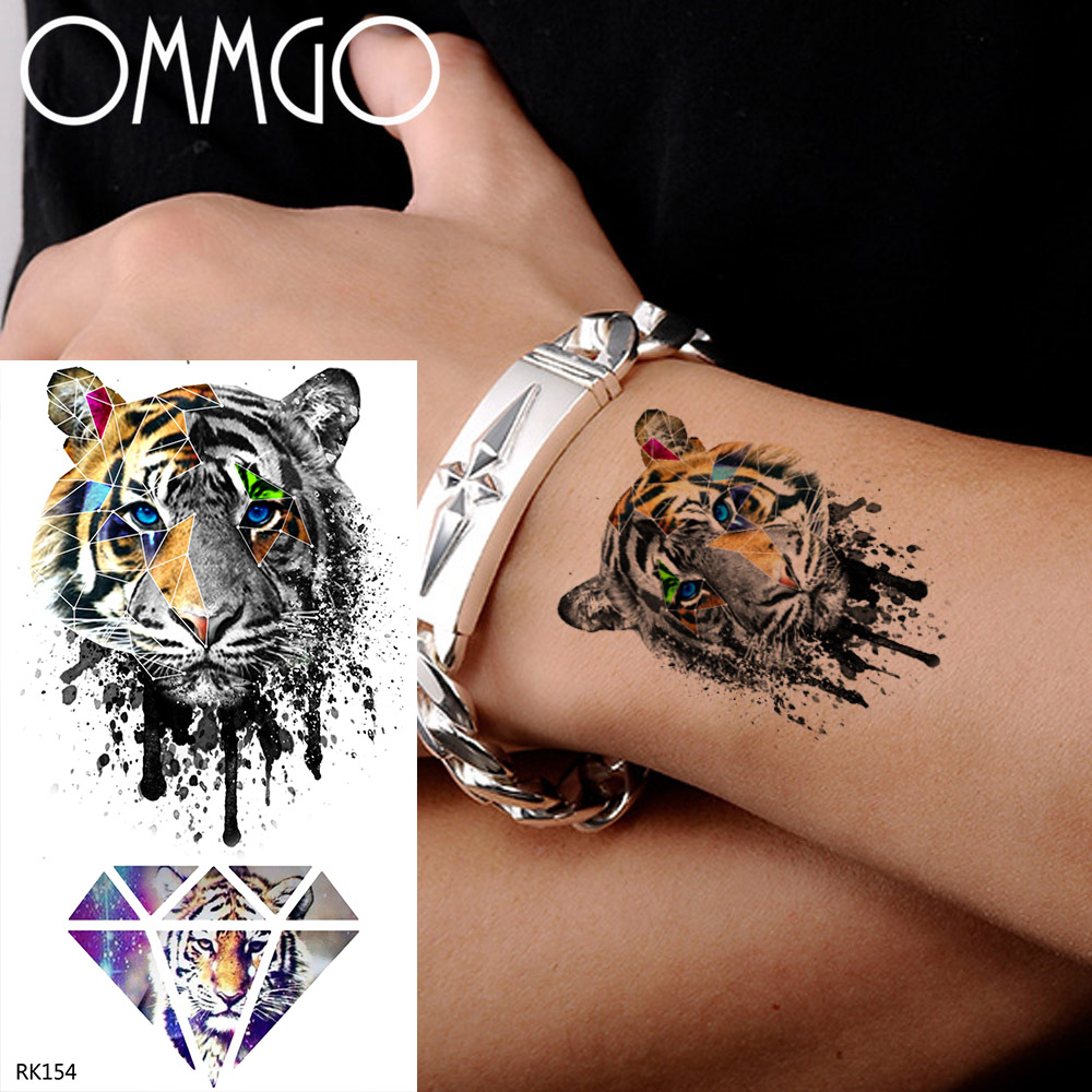 OMMGO Doodle Tiger Flash Geometric Temporary Tattoos Sticker Diamond Fake Tatoos For Kids Boys Custom Tattoo Body Art