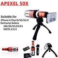 Apexel мобильный телефон 50X объектива телескопа для iphone 4 5C 5S 6 плюс Samsung N7100 i9300-качество i9500 S3 S4 S5 S6 примечание 2 3 4 50X зум-объектив