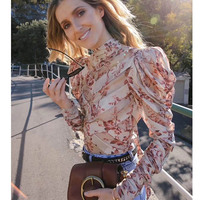 Cosmicchic взлетно посадочной полосы для женщин блузки для малышек шелк цветочный принт блузка с длинным рукавом и стоячим воротником перспекти