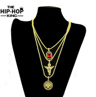 Micro Angel With Ruby Pendant Necklace Combo Set Hot Sale Iced Out Gold Plated Lab Diamond
