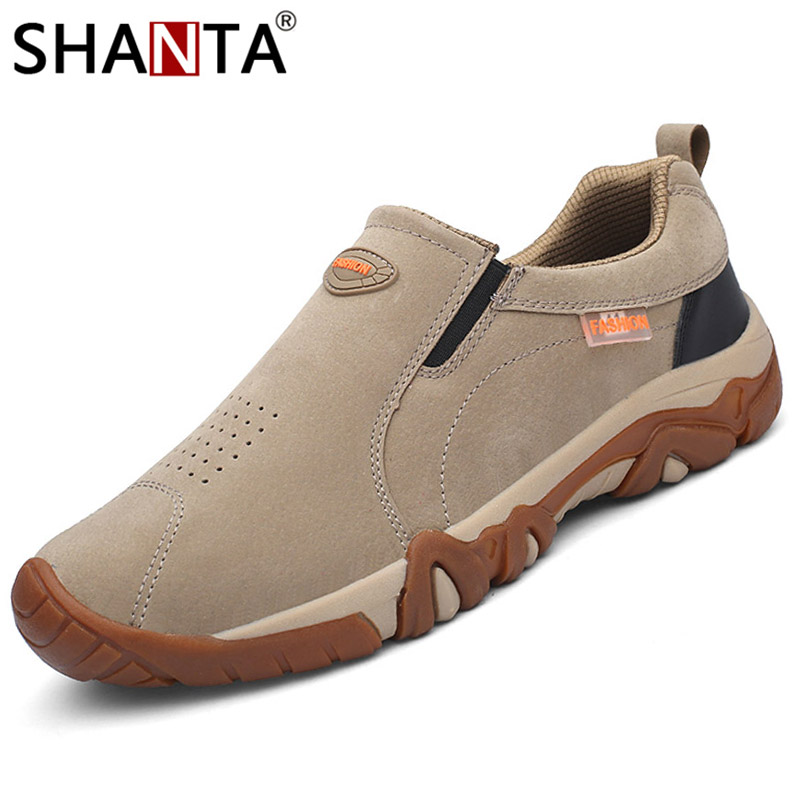 SHANTA Casual Shoes Loafers Men Sneakers Non-Slip Breathable Genuine-Leather Spring Outdoor