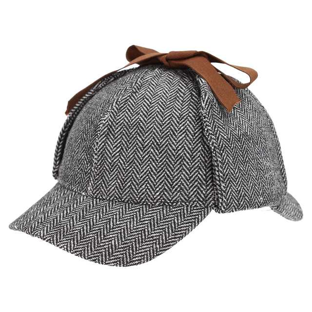 Women Men Earflap Berets Cap Tweed Gatsby Detective Hats Role Play Sherlock  Holmes Deerstalker Hat Winter 8204ace52347