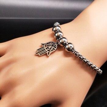 c5b902cf36ef Hamsa mano Color plata Acero inoxidable pulsera de cuentas de mujer  pulseras brazaletes joyería mano de Fátima pulsas mujer moda BB1208A