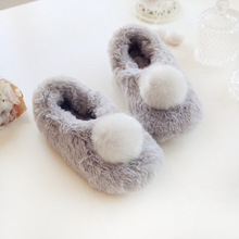 Winter Women's Fashion Rabbit Hair Home Flat Casual shoes indoor anti-slip shoes Home & Living cute cotton shoes free shipping