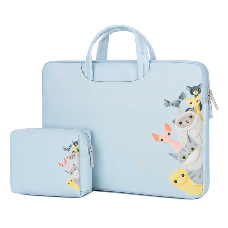 لينة بولي Leather الجلود حقيبة لابتوب دفتر حمل جراب للماك بوك اير 13 ديل 14 15 15.6 بوصة مقاوم للماء حقائب الماوس حقيبة