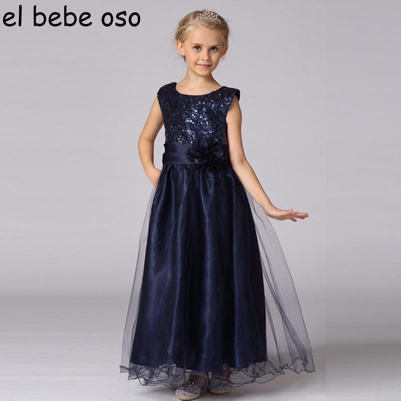 Girls Clothes New Fashion Flower Princess Dresses O-neck Sleeveless Party Wedding Dress Tulle Childrens Costume For Kids XL296