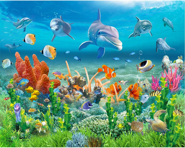 Beibehang Large Custom Wallpaper Underwater World Dolphin Coral Reef Sea View Childrens Room TV Background Murals