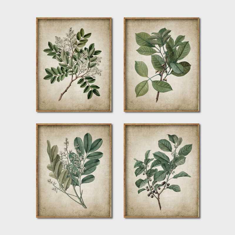 Hijau Tanaman Dinding Seni Retro Poster Vintage Daun Kanvas Lukisan Cetak Botanical Seni Dekorasi Dinding Gambar Dekorasi Rumah