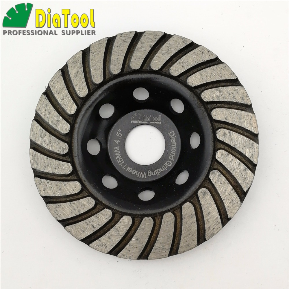DIATOOL 2pcs 115mmDiamond Turbo Row Grinding Cup Wheel For Concrete Masonry And Some Other Construction Mater 4.5 Grinding Disc