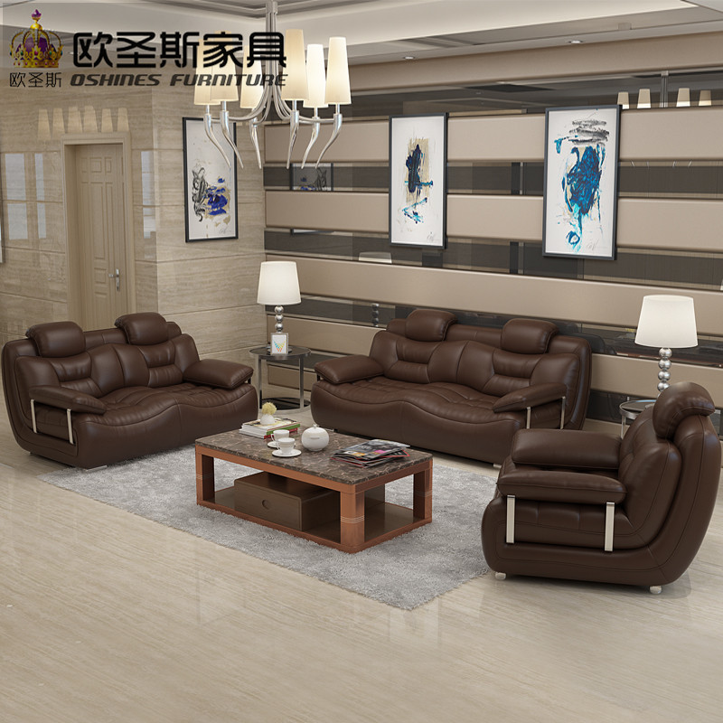 2019 New Design Italy Modern Leather Sofa Soft Comfortable Livingroom Genuine Real Set 321 Seat 663a