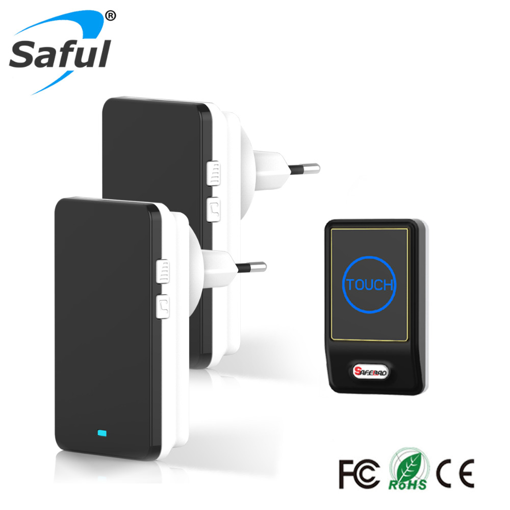 Saful Waterproof Doorbell Buttons/Touch Saful EU Plug Wireless Doorbell Outdoor Transmitter And Indoor Receiver Door Bell saful wireless door bell waterproof push button doorbell with 1 indoor wireless doorbell receiver and 1 outdoor transmitter