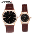 SINOBI Couples Watches Brown Leather Business Women and Men Watches For Lovers 2016 Alloy Waterproof Gold Female Wristwatches