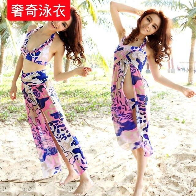 Lovers swimwear skirted bikini triangle set hot spring steel beach swimwear