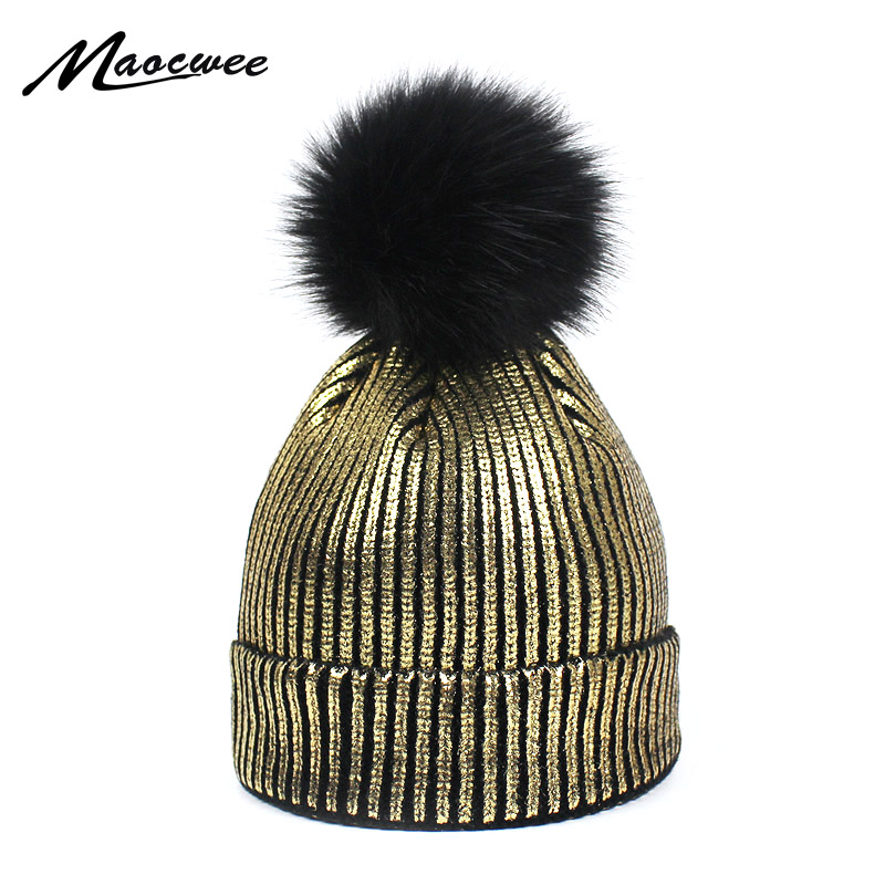 Girls Bronzing Gold and Silver with Caps Faux Fur Pompon Hat for Women Winter Knitting Warm Hats Female   Skullies     Beanies   2018