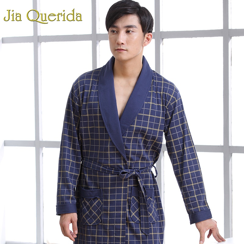 Mens Robe Cotton Long Sleeve Navy Nightgown Peignoir Bathrobe Plaid Bathrobe Bath Kimono Robe Yukata Mens Cotton Sleepwear Robes