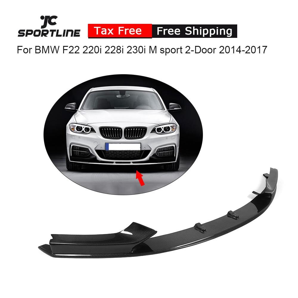 Carbon Fiber / FRP Front Bumper Guard Lip Spoiler Chin for BMW 2 Series 220i 230i 235i 228i F22 M Sport 2Door 2014-2017 P style