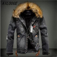 AILOOGE New Winter Fashion Men Woolen Denim Jacket With Fur Collar Oversize Casual Jeans Jacket Plus