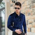 Новый Дизайн Моды для Мужчин С Длинным Рукавом Цветочные Рубашки Мужские Повседневная Одежда Золото Бархат Рубашка camisa цветочный masculina