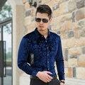 Novos Homens de Design de Moda Longo-Luva Floral Camisas Casual Masculino Roupas de Ouro de Veludo Vestido de Camisa camisa masculina floral