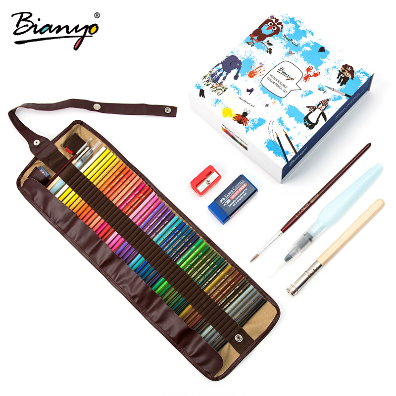 Bianyo 48/72 Colors Water Soluble Pencils Christmas New Year Gifts Children Colored Pencils Sketch Set For Art Drawing Supplies ladybird appliques dress wholesale clothing for girls princess baby boutique o neck clothes children polka dot dresses 6pcs lot