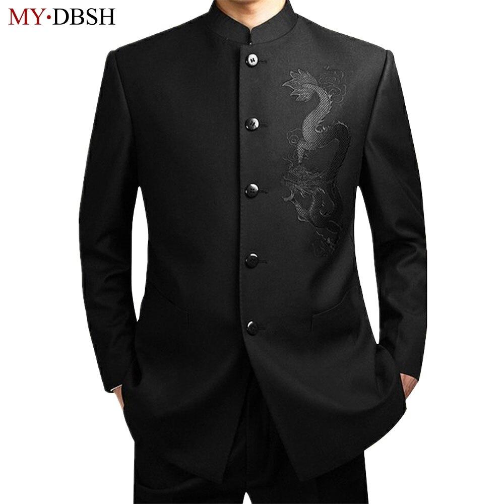 Erkek Kıyafeti'ten T. Elbise'de Yeni 2019 Siyah Çin Tunik Takım Elbise erkek Geleneksel Standı Yaka Takım Elbise Apec Lideri Kostüm Erkek Nakış Ejderha Totem Takım Elbise'da  Grup 1