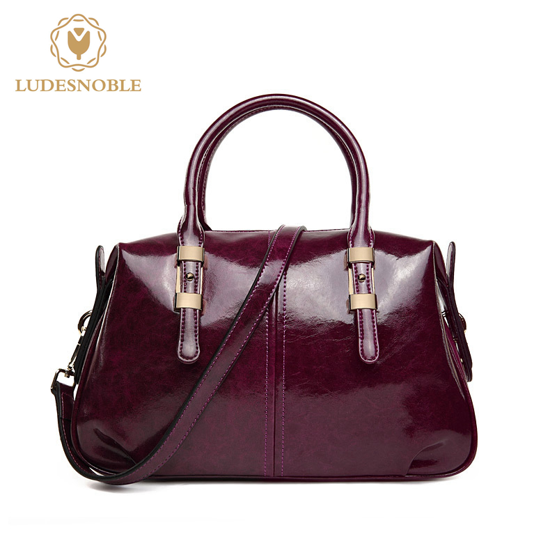LUDESNOBLE Designer Handbags High Quality Genuine Leather Bags For Women Bags Genuine Skin Boston Sac A Main Femme De Marque exclusive limited women tote bag handbags high quality shoudler bags with hair ball ornaments sac a main femme de marque celebre
