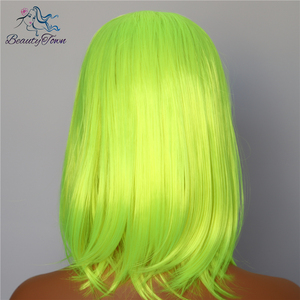 Image 3 - BeautyTown Short Neon Yellow Color Natural Bob Style Queen Makeup Women Wedding Halloween Party Present Synthetic Lace Front Wig