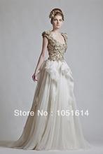 Gold Flower Appliques Sequins And White A-line Cap Sleeve Women Evening Dresses By Designer Krikor Jabotian Sheer See Through