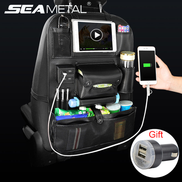 Car Organizer Seat Back Bag USB Charger Phone Storage Pu Leather Travel Multifunction Pocket Stowing Tidying in Auto Accessories