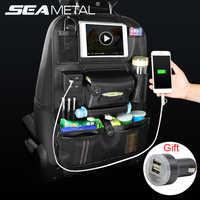 รถที่นั่งกลับกระเป๋า USB Charger โทรศัพท์ Pu หนังมัลติฟังก์ชั่กระเป๋าจัดเก็บ Auto อุปกรณ์เสริม