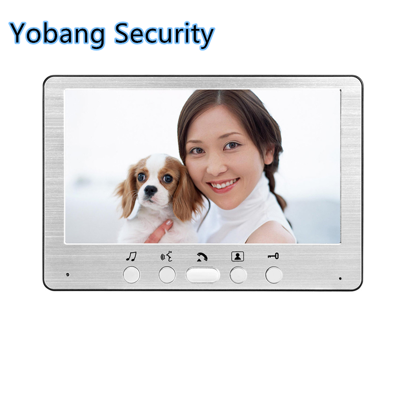 Yobang Security  freeship 7 LCD indoor monitor without outdoor camera indoor screen for videa door intercom door phone yobang security metal outdoor unit ir door camera for doorphone monitor rainproof outdoor camera for video door phone no screen