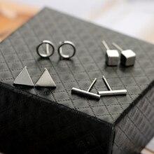 VAROLEV Trendy 4pair/Set Geometric Triangle Round Square T Bar Stud Earring for Women Fashion Silver Gold Black Alloy Earrings