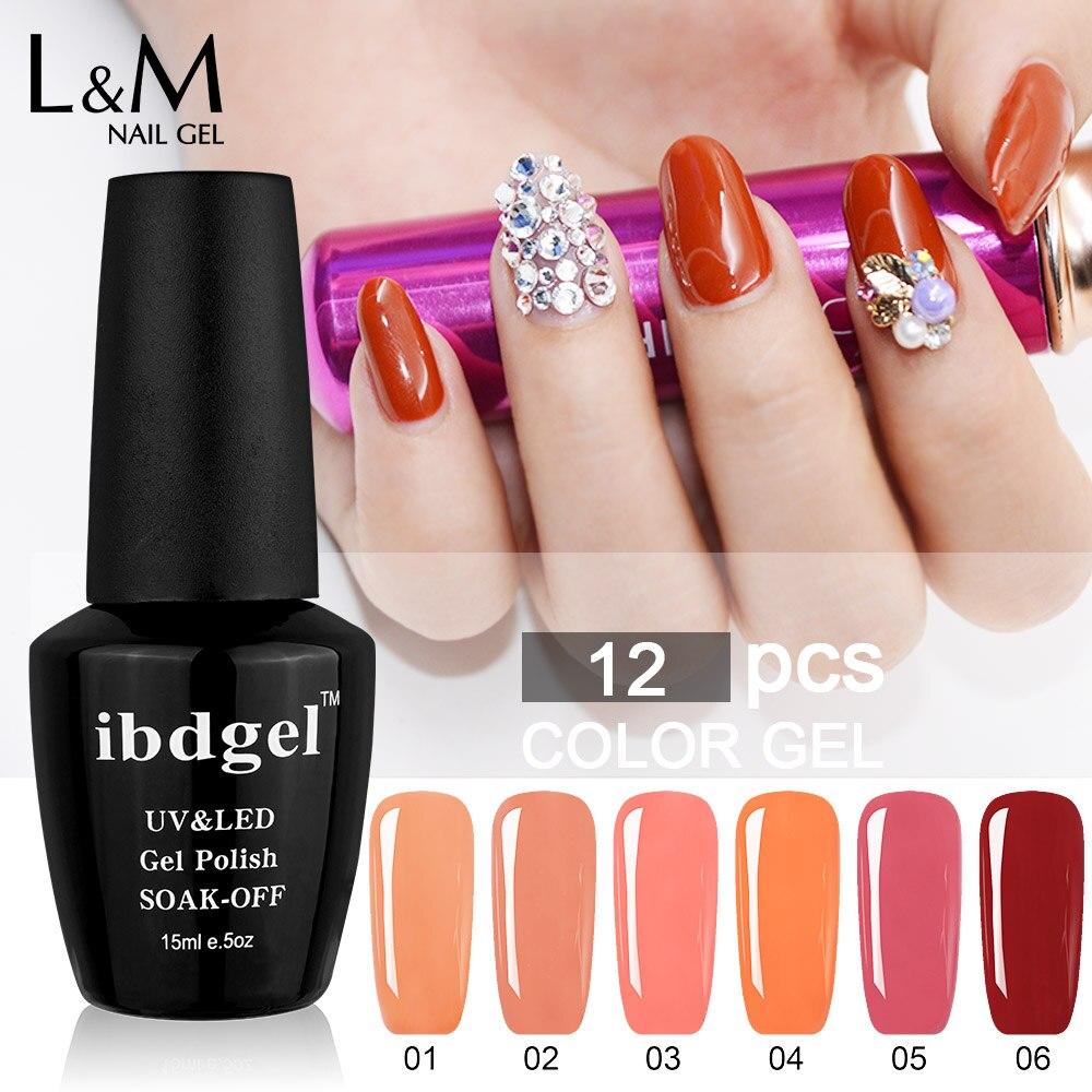 12 Jars Ibdgel Brand Carnelian Color Series Gel Top Base