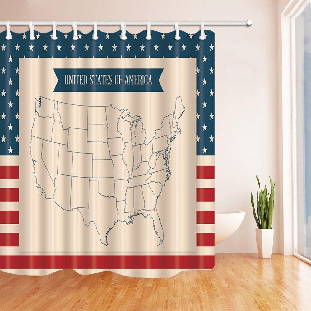 Путешествия Душ Шторы s, Соединенные Штаты Америки Map звезды и полосы, Ванная комната Душ Шторы комплект